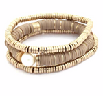 Tan Disc and Gold Bead Bracelet Set w/ Pearl