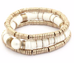 White Disc and Gold Bead Bracelet Set w/ Pearl
