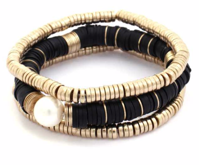 Black Disc and Gold Bead Bracelet Set w/ Pearl