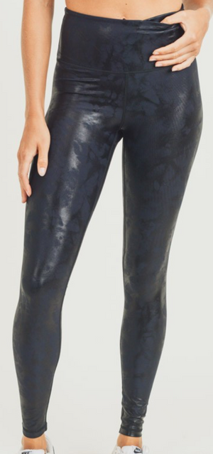 Black Foil Abstract Leggings