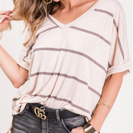 Oatmeal V-Neck Jersey Knit Top