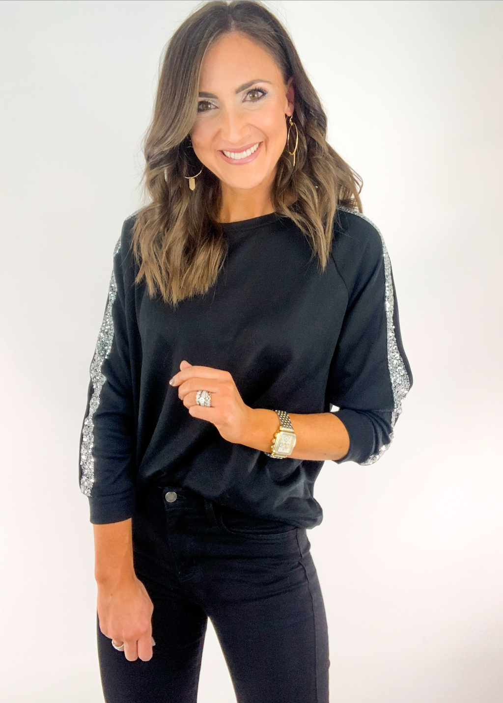 Black Long Sleeve Pullover w/ Sequin Hem Detail