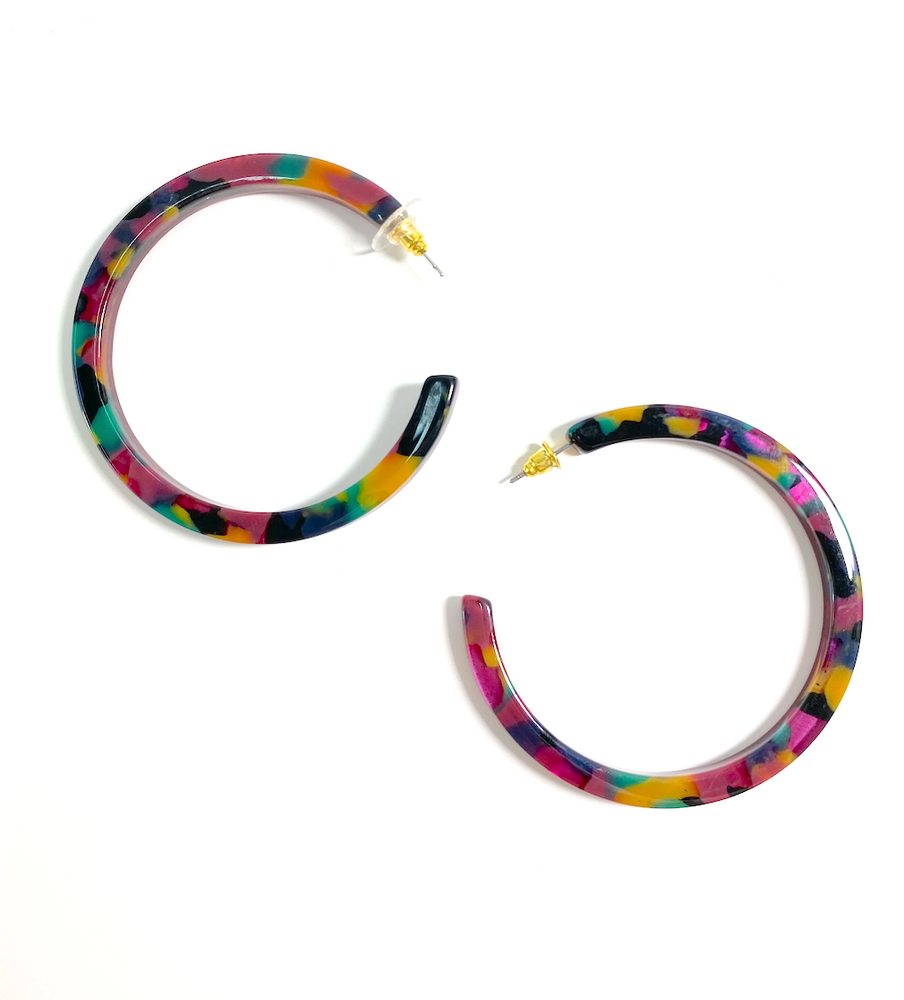 Dark Colorful Acrylic Hoops