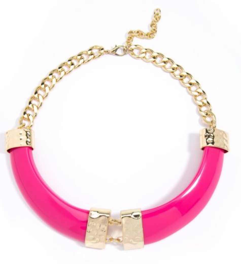 Pink Resin and Gold Collar Necklace