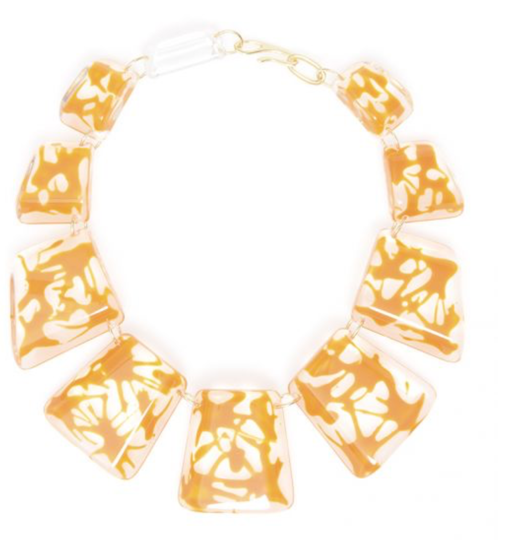 Clear Resin Necklace w/ Orange Splatter Design