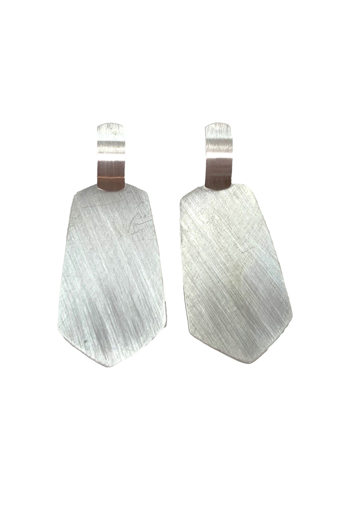 Geometric Metal Brushed Dangle Earrings
