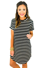 Black and White Stripe Casual Short Sleeve Dress