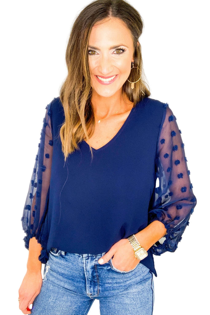 Navy Top with Sheer Swiss Dot Sleeves