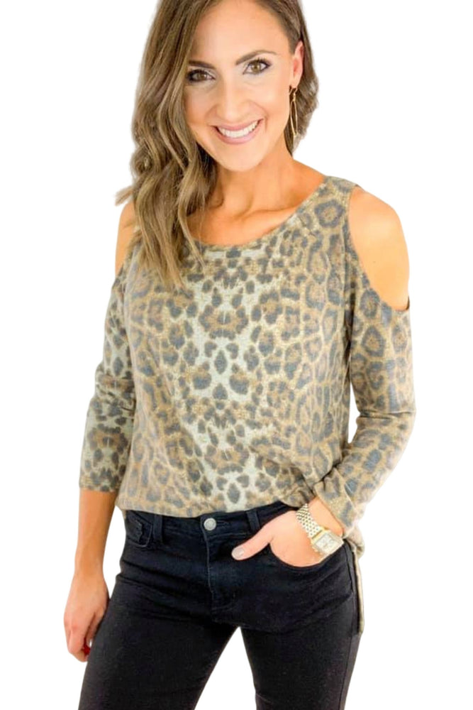 OG Animal Print Cold Shoulder Top