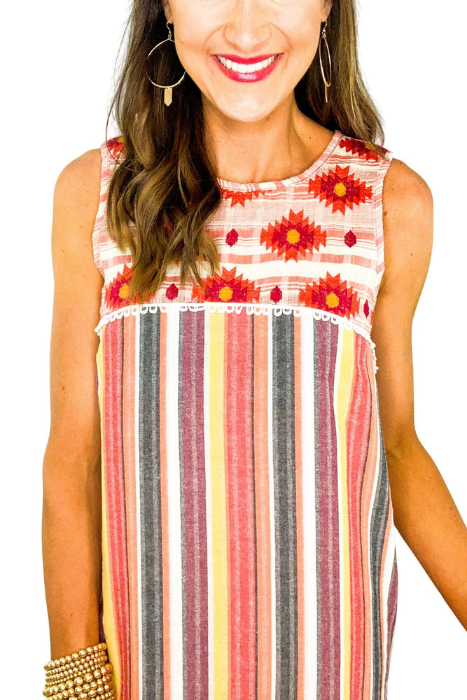 Striped Dress w/ Embroidered Bib