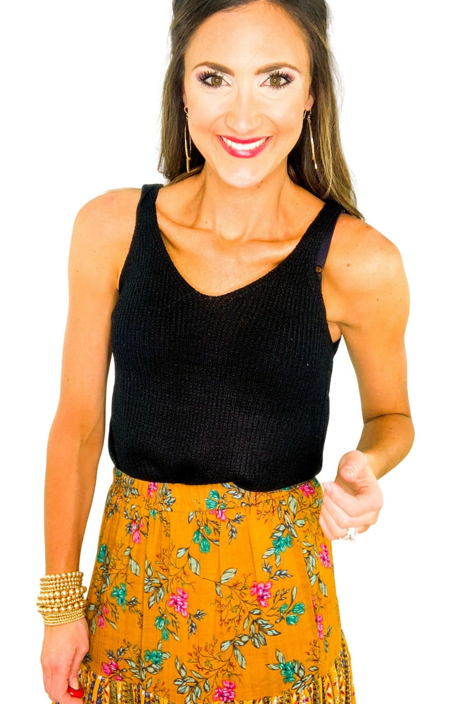 Black V Neck Knit Camisole