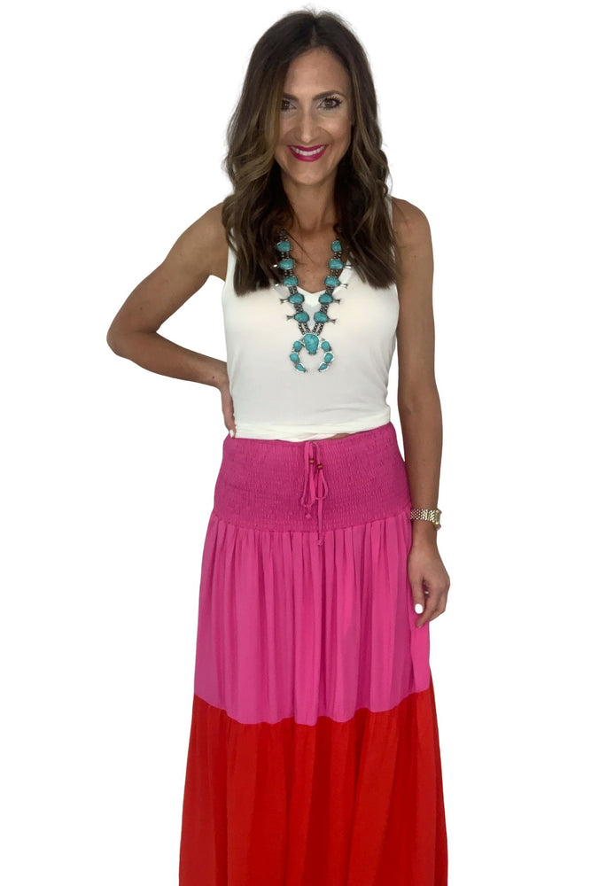 Pink and Red Smocked Waist Maxi Skirt