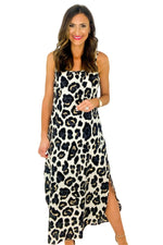 Spaghetti Strap Animal Print Maxi Dress