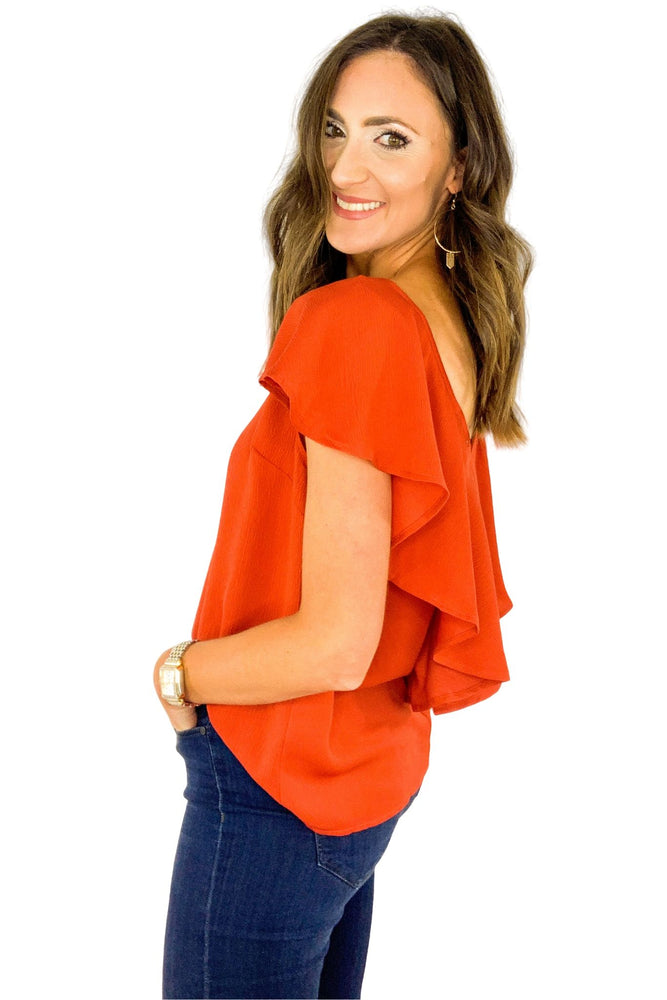 Dark Orange Ruffle V Back Blouse