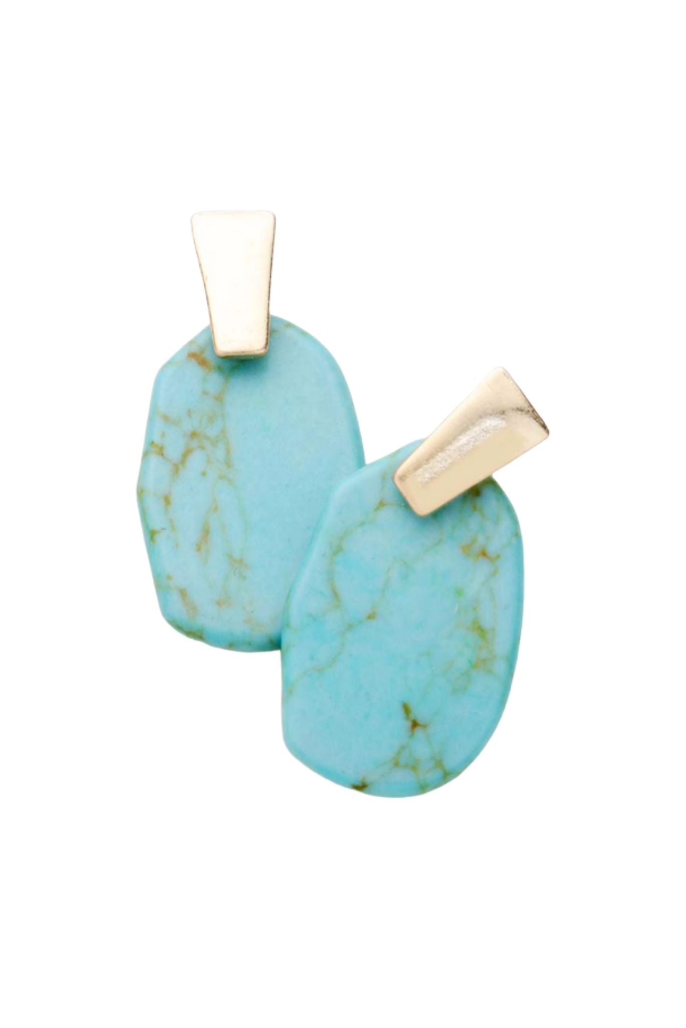 Gold Stud Earrings w/ Turquoise Stone