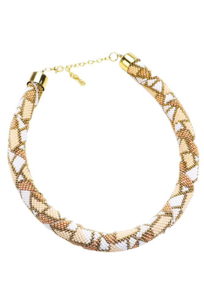 Neutral Beaded Rope Necklace