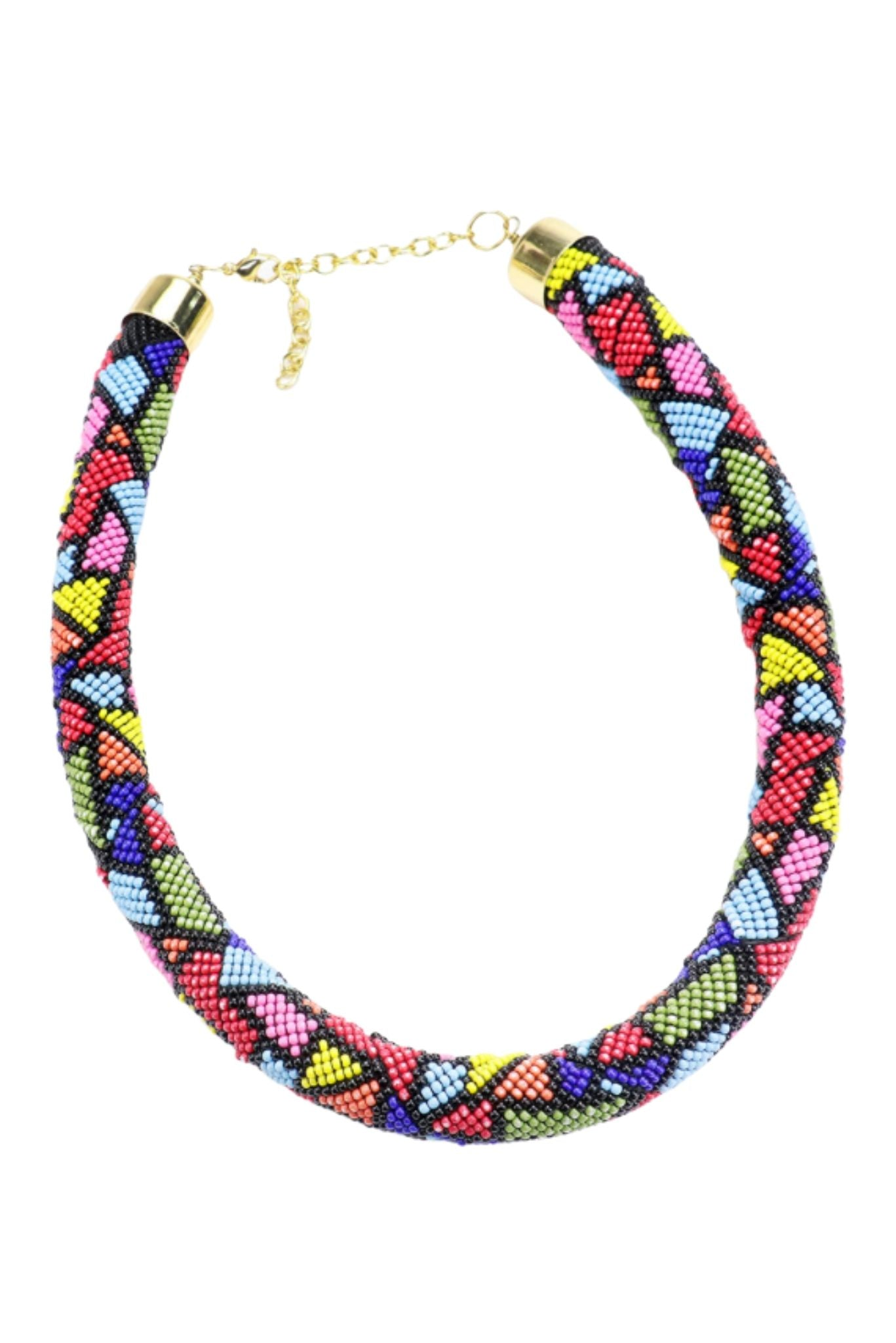 Multi Colored Beaded Rope Necklace