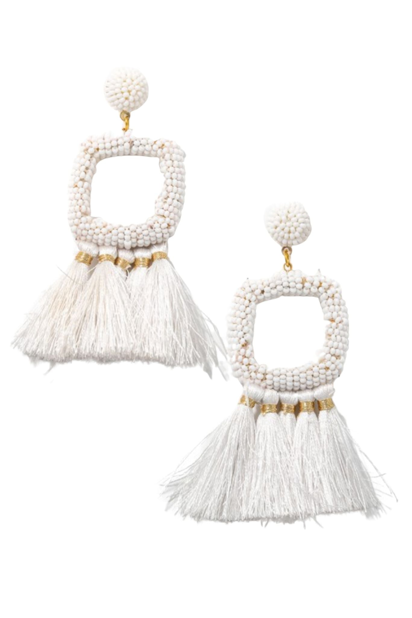 White Beaded Square Earrings w/ Fringe