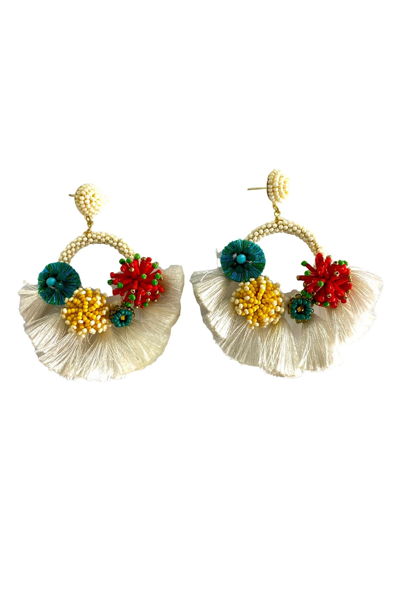 Ivory Beaded Hoops w/ Colorful Beaded Poms