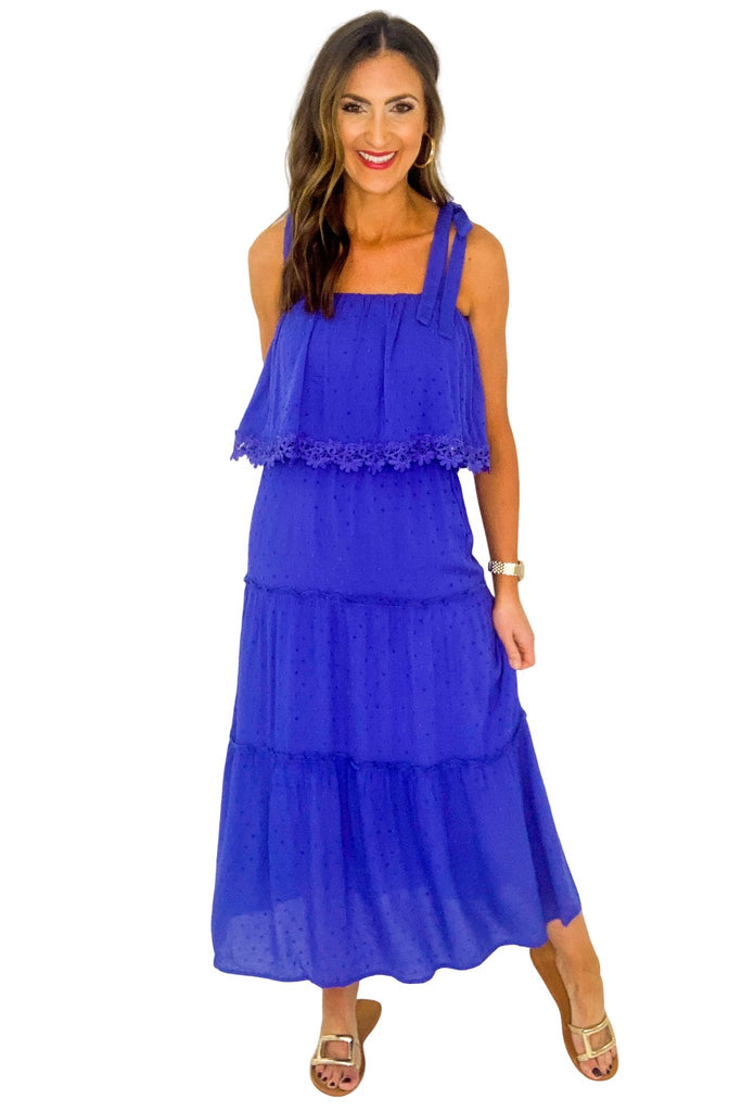Blue Spotted Maxi Dress w/ Tie Shoulders