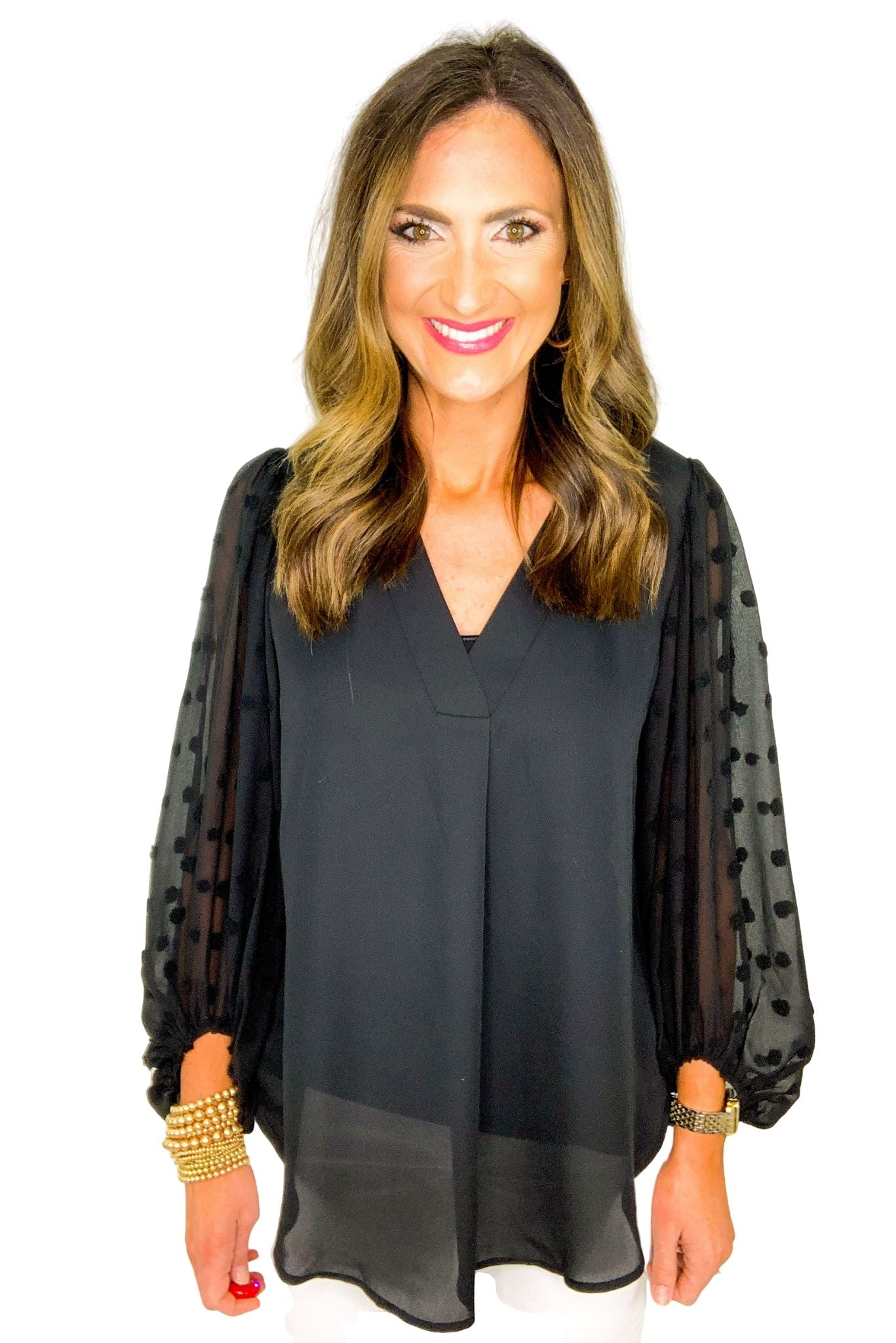 Black Long Sheer Swiss Dot Sleeve Top