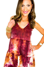 Orange and Plum Tie Dye Tiered Sleeveless Dress