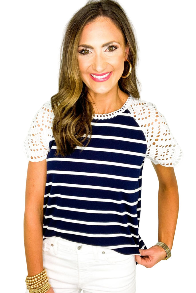 Navy Stripe Tee w/ Eyelet Sleeves