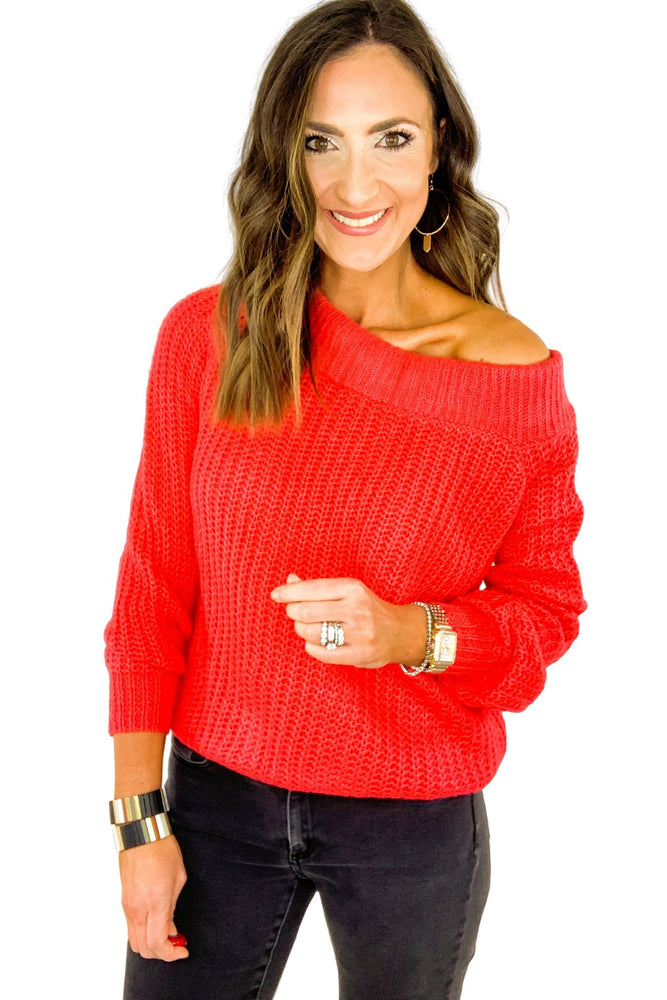 Coral Off the Shoulder Sweater