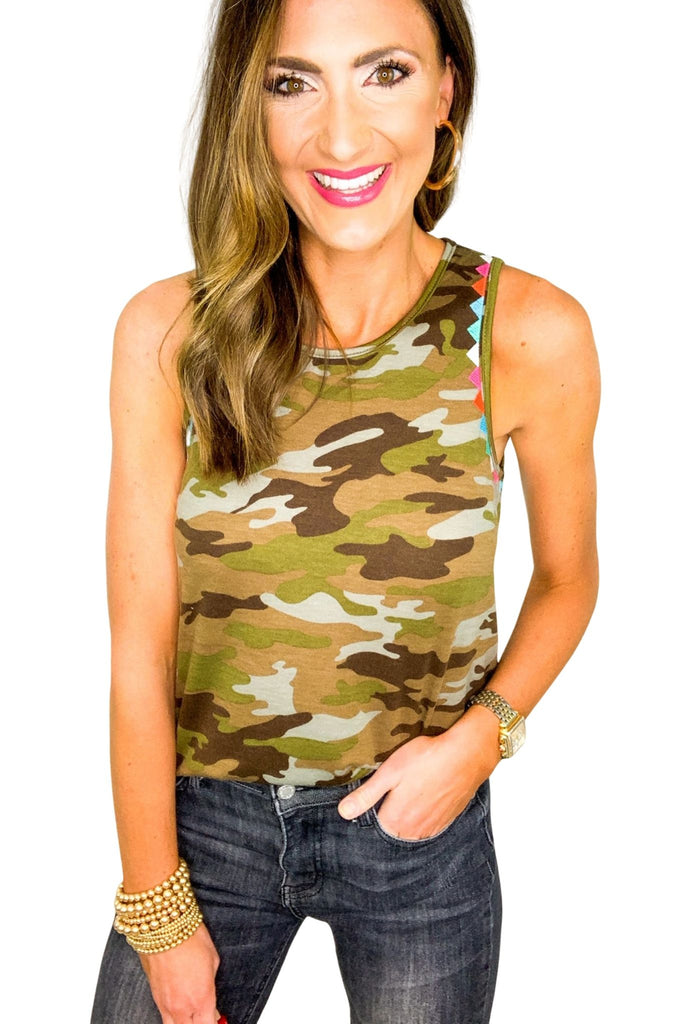Camo Tank w/ Embroidery Trim