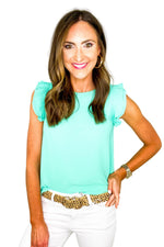 Turquoise Pleated Ruffle Sleeve Top