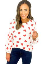 Heart Print Top w/ Balloon Sleeves