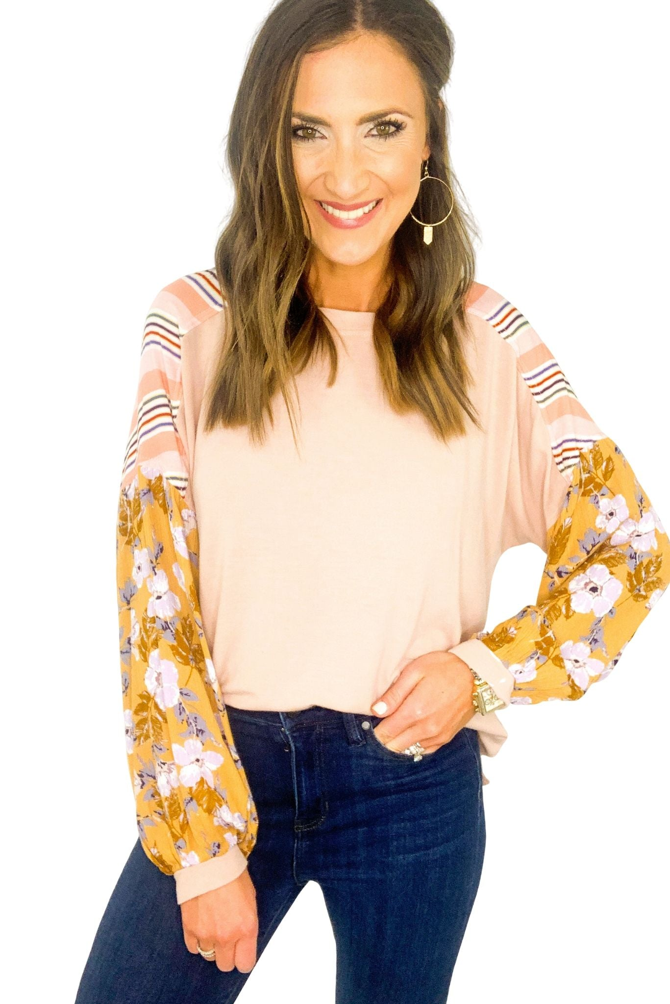 Blush Top w/ Mixed Pattern Sleeves