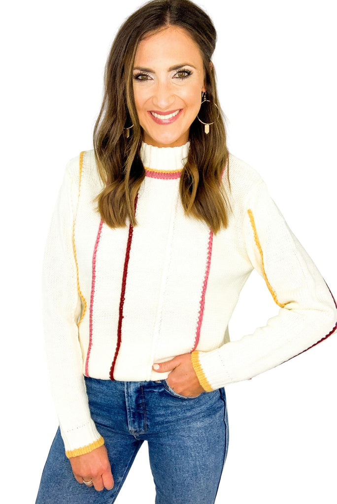 Ivory Ribbed Mock Neck Sweater w/ Colorful Accents