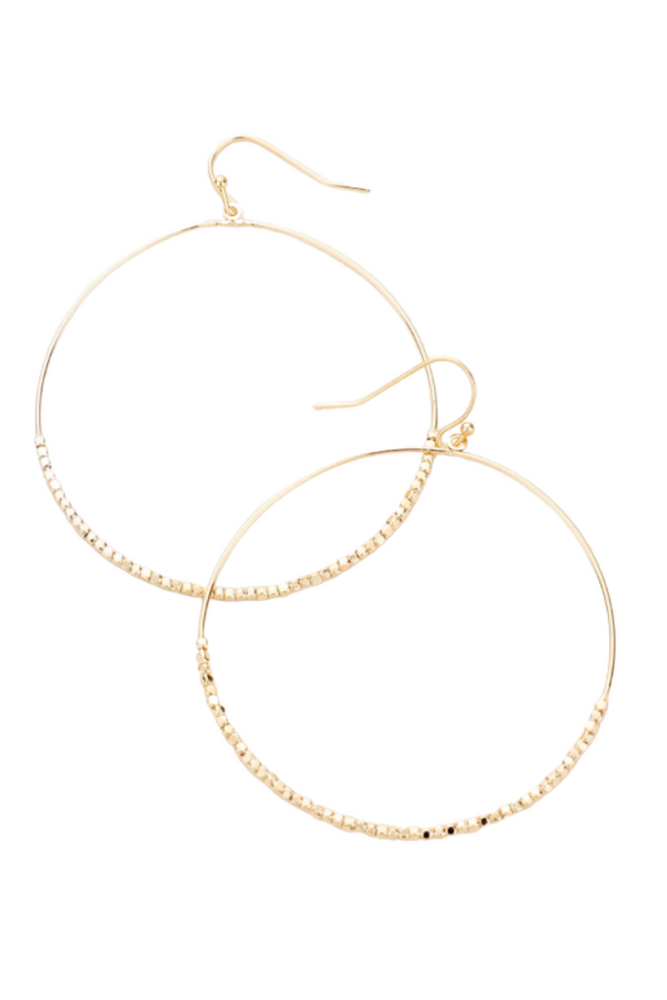 Gold Half Seed Bead Hoop Earrings