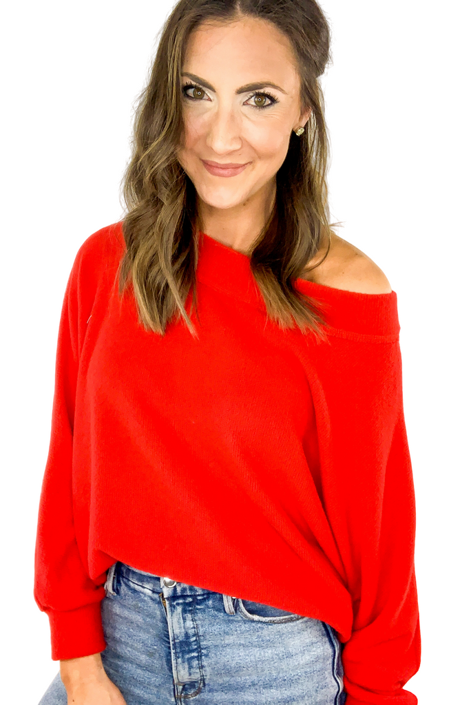 Red Brushed Dolman Sleeve Tunic