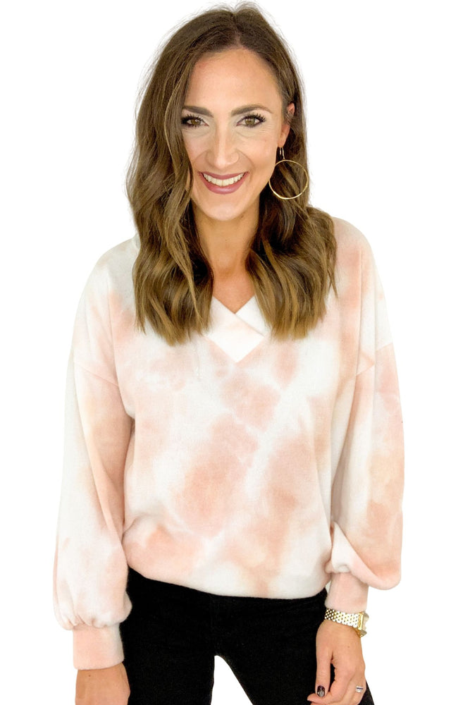 Peach and Ivory Tie Die Wide V Brushed Tunic