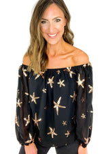 Black Off the Shoulder Top w/ Sequin Stars