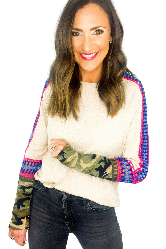 Taupe Waffle Knit Top w/ Colorful Crochet and Camo Details