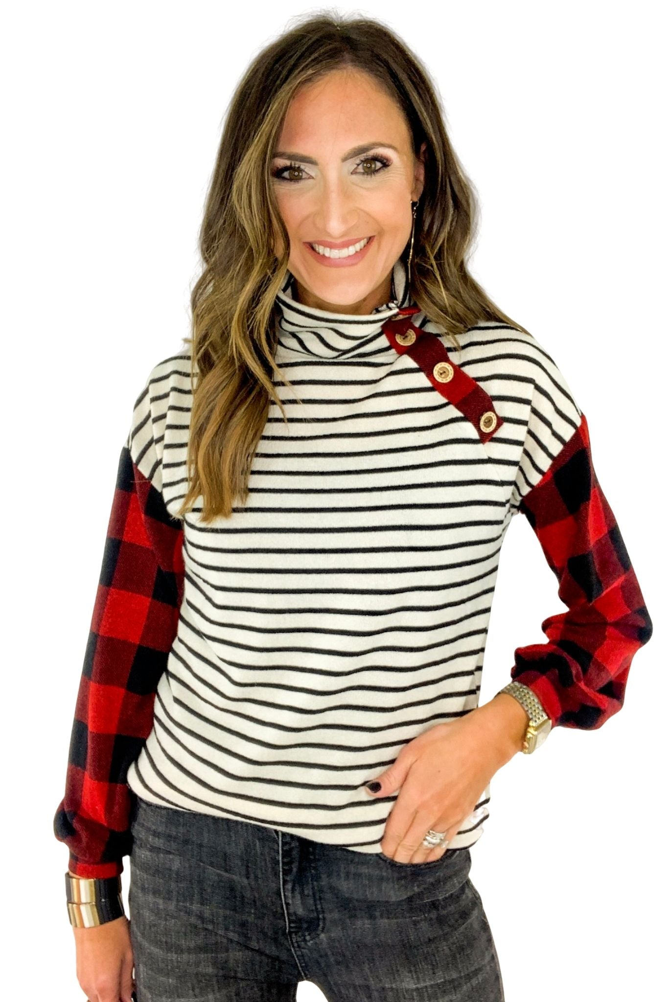 Striped Turtleneck W/ Buffalo Check Sleeves