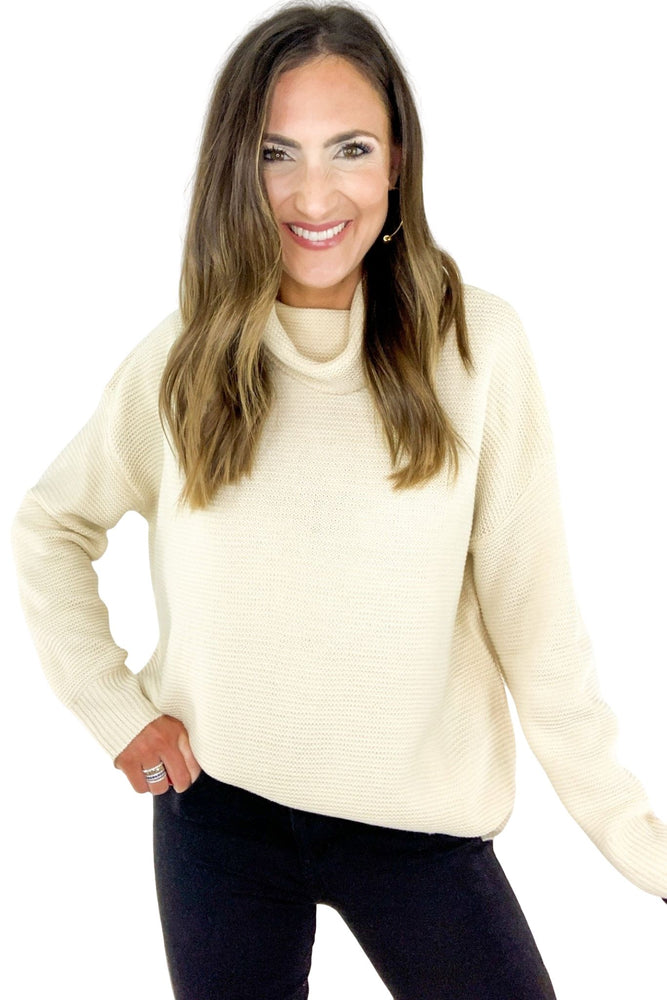 Natural Solid Turtleneck Pullover