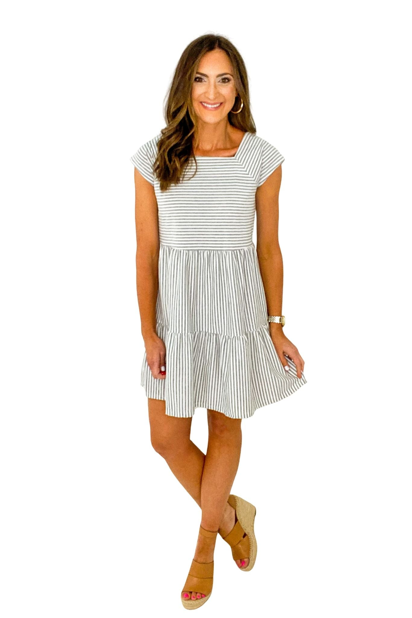 Grey Stripe Tiered Cap Sleeve Dress