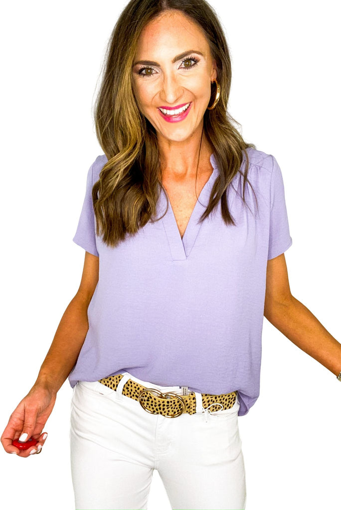 Lavender Short Sleeve V Neck Top