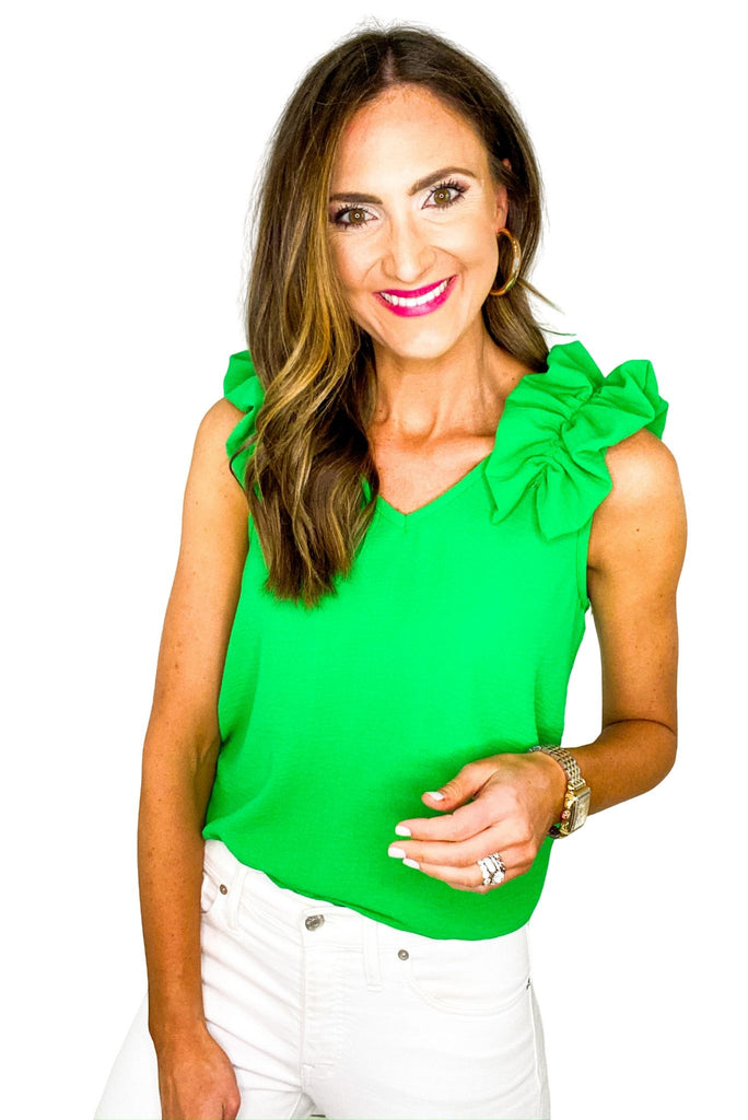 Green Ruffle Shoulder Top