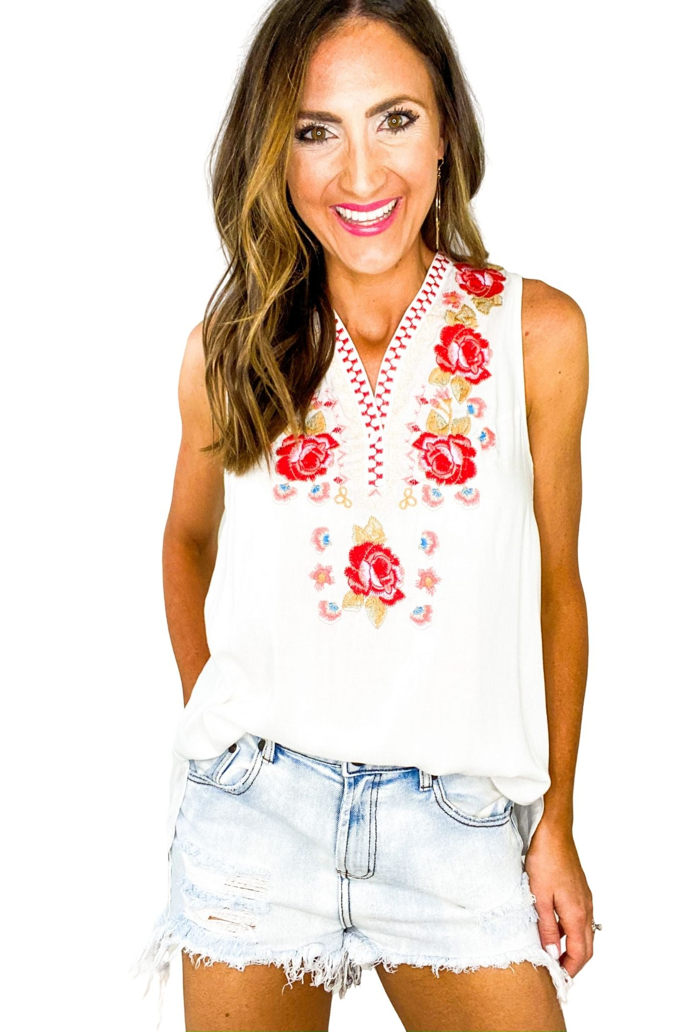 White Embroidered Front Sleeveless Top