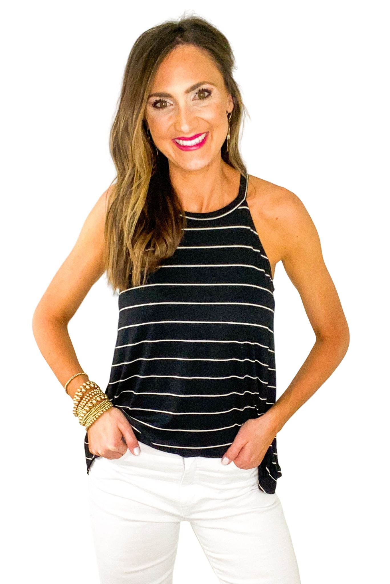 Black Striped Jersey Knit Halter Tank *FINAL SALE*