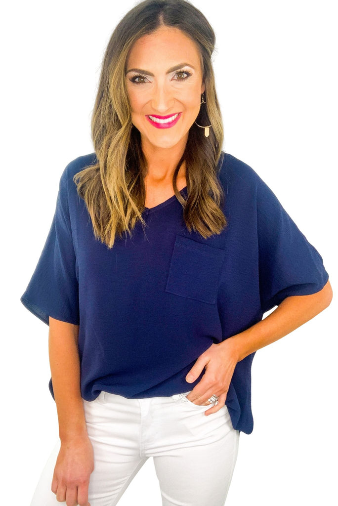 Navy Boxy Top w/ Front Pocket