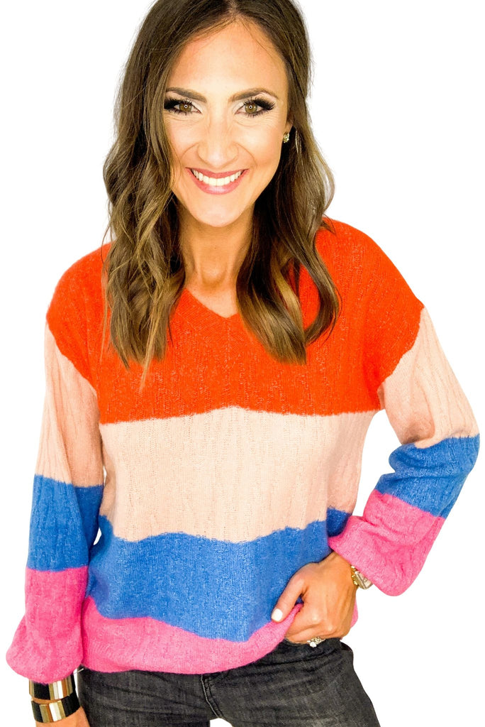Lightweight V Neck Color Block Sweater