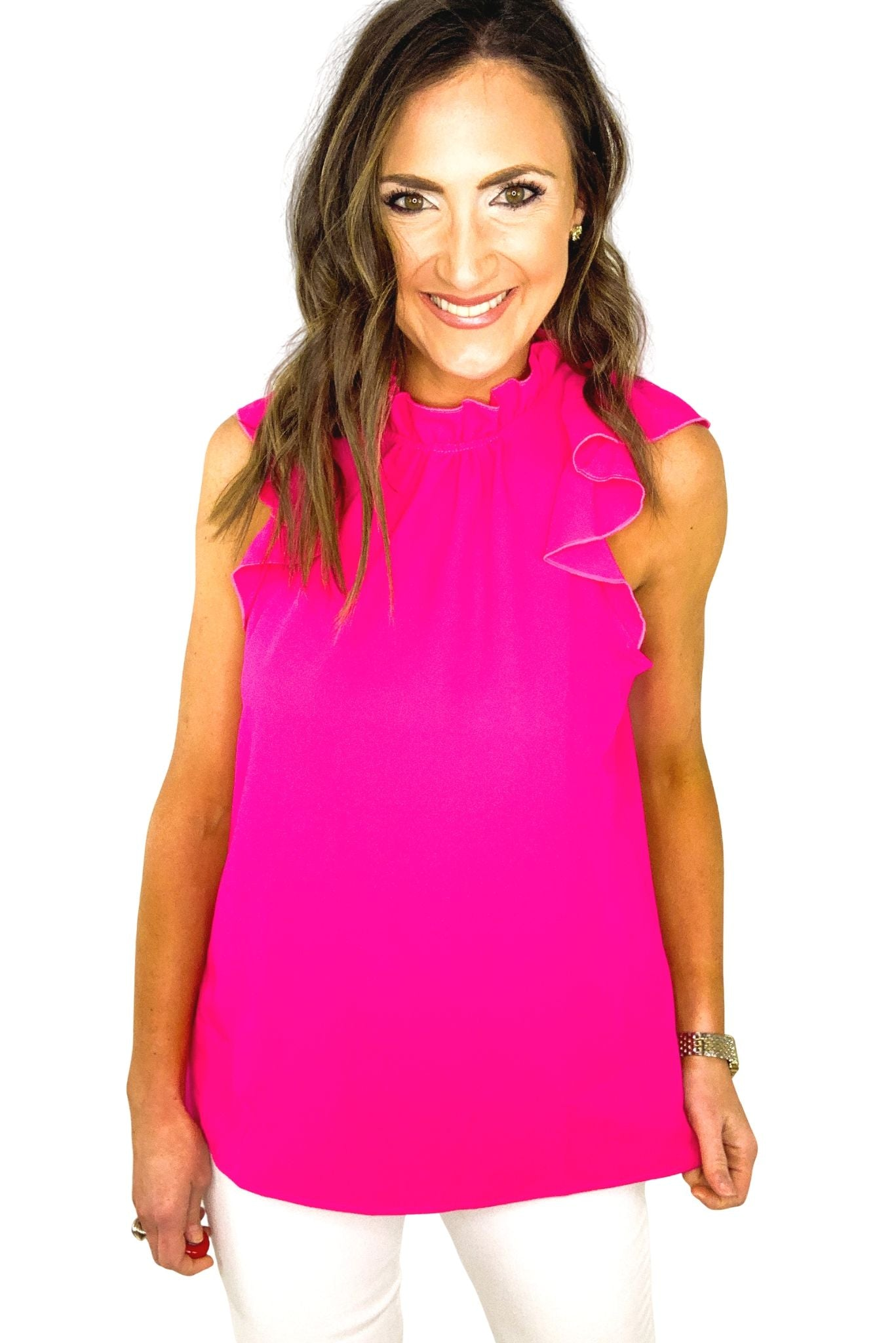 Hot Pink Mock Neck Ruffle Top