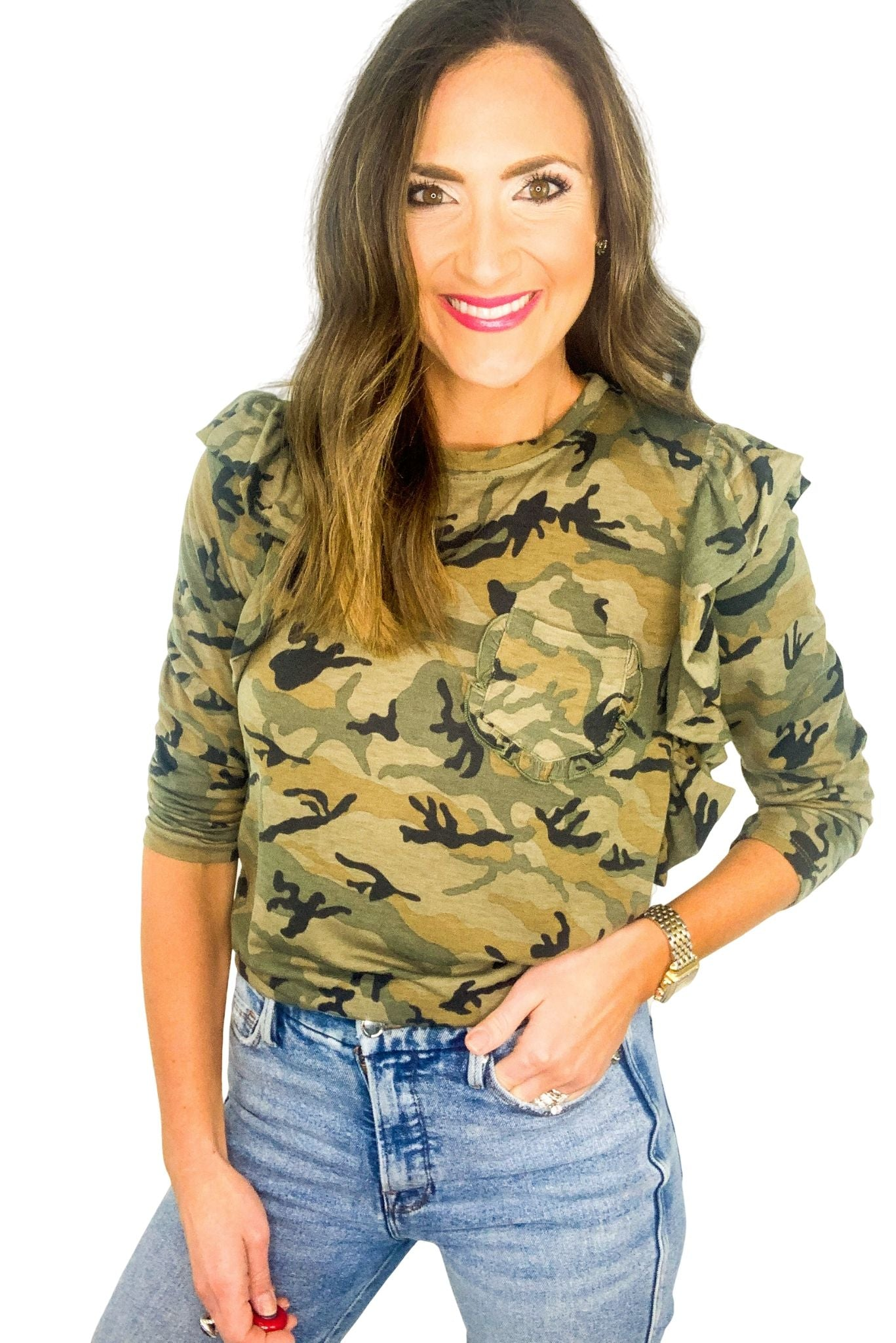 Camo Ruffle Long Sleeve Top