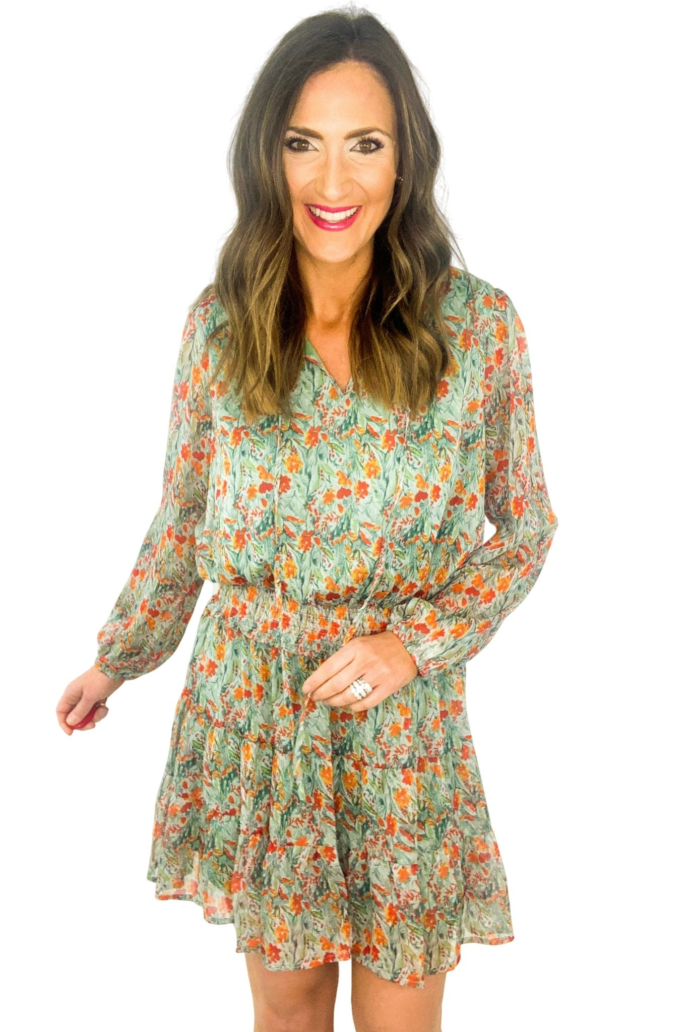 Floral Long Sleeve Dress w/ Smocked Waist